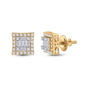 QueensDiamond 14kt Yellow Gold Womens Baguette Diamond Square Earrings 1/2 Cttw - Queens Diamond & Jewelry