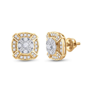 14kt Yellow Gold Womens Round Diamond Square Cluster Earrings 3/4 Cttw