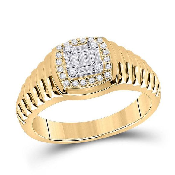 14kt Yellow Gold Mens Baguette Round Diamond Square Ring 1/3 Cttw