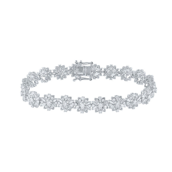 14kt White Gold Womens Baguette Diamond Flower Fashion Bracelet 4 Cttw