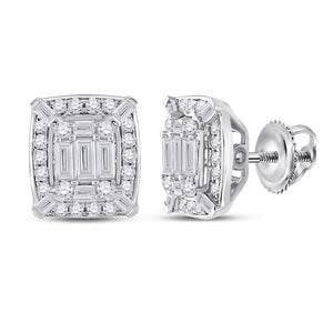 14kt White Gold Womens Baguette Diamond Cluster Earrings 1/2 Cttw
