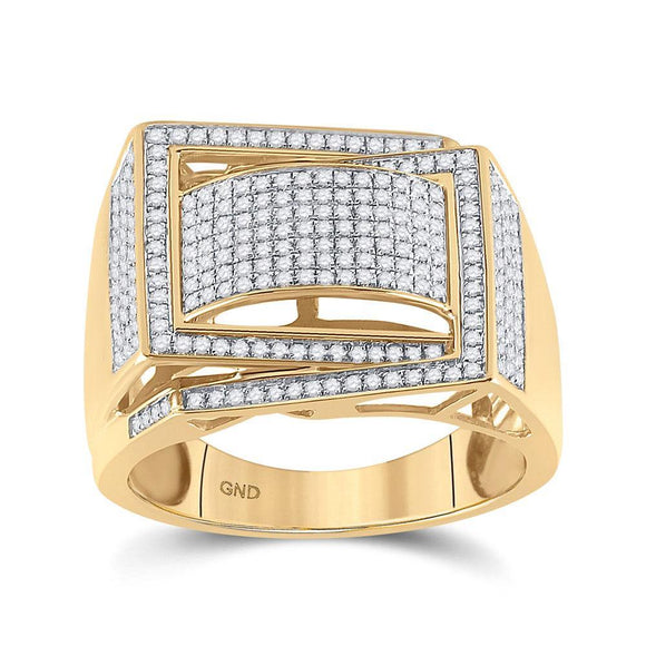 10kt Yellow Gold Mens Round Diamond Domed Fashion Ring 3/4 Cttw