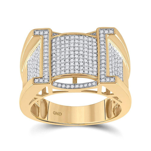 10kt Yellow Gold Mens Round Diamond Band Ring 5/8 Cttw