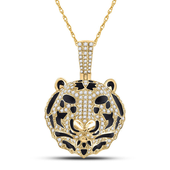 10kt Yellow Gold Mens Round Diamond Tiger Charm Pendant 2 Cttw