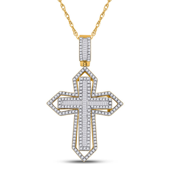 14kt Yellow Gold Mens Baguette Diamond Cross Charm Pendant 7/8 Cttw