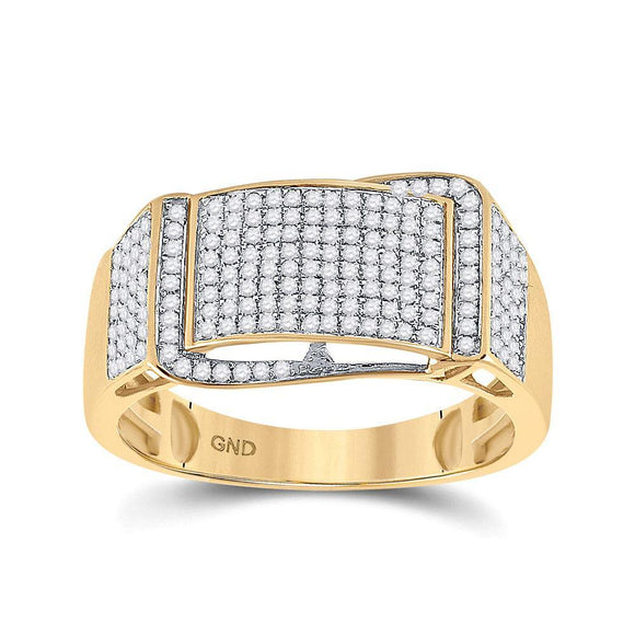 10kt Yellow Gold Mens Round Diamond Fashion Ring 1/2 Cttw