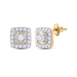 QueensDiamond 10kt Yellow Gold Womens Round Diamond Square Earrings 1/5 Cttw - Queens Diamond & Jewelry