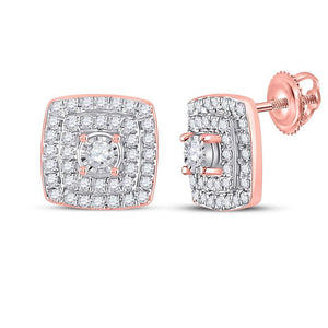 10kt Rose Gold Womens Round Diamond Square Earrings 1/4 Cttw