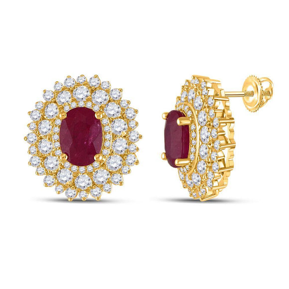 14kt Yellow Gold Womens Oval Ruby Diamond Halo Earrings 3-1/4 Cttw
