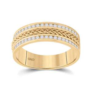 14kt Yellow Gold Mens Round Diamond Wedding Braided Band Ring 1/2 Cttw