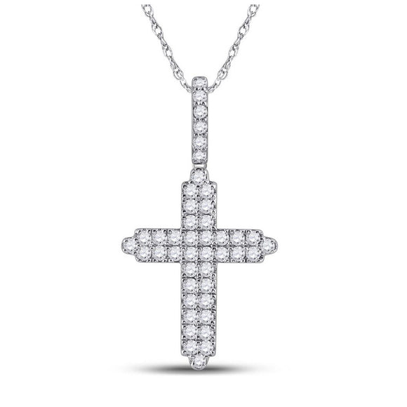 14kt White Gold Mens Round Diamond Cross Charm Pendant 3/4 Cttw
