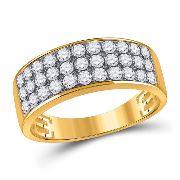 14kt Yellow Gold Mens Round Diamond Pave Band Ring 1-3/8 Cttw