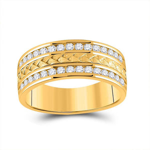 14kt Yellow Gold Mens Round Diamond Wedding Braid Inlay Band Ring 3/4 Cttw