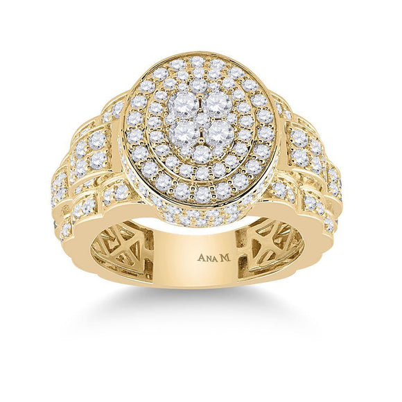 14kt Yellow Gold Mens Round Diamond Oval Ring 2-3/4 Cttw