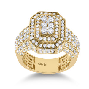 14kt Yellow Gold Mens Round Diamond Cluster Ring 2-7/8 Cttw
