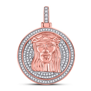 10kt Rose Gold Mens Round Diamond Jesus Face Circle Charm Pendant 3/4 Cttw