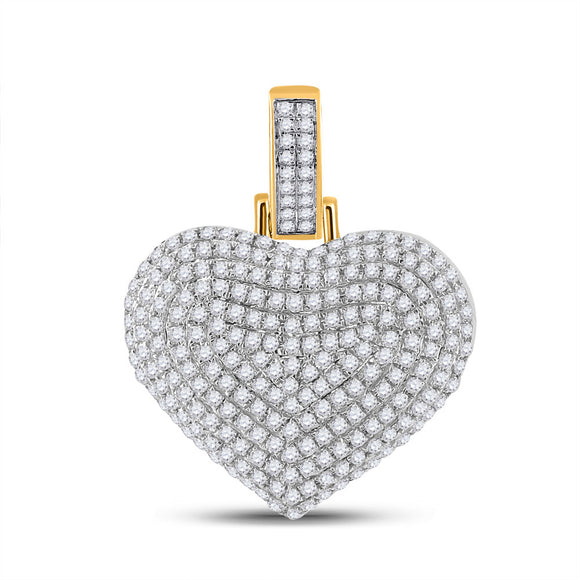 10kt Yellow Gold Mens Round Diamond Heart Charm Pendant 3/4 Cttw
