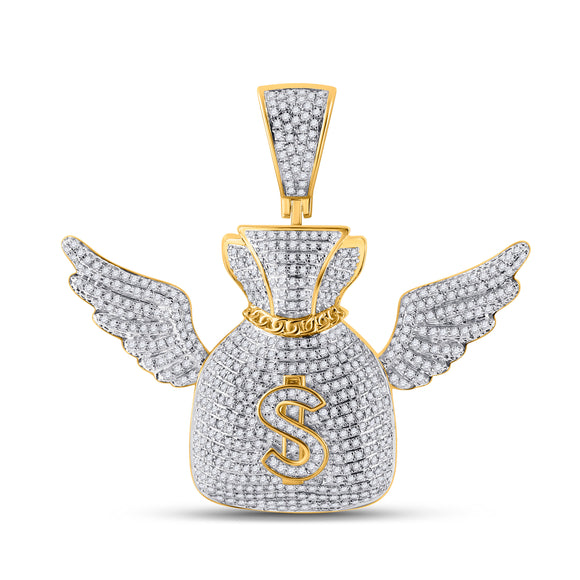 10kt Yellow Gold Mens Round Diamond Money Bag Wings Charm Pendant 1-1/2 Cttw