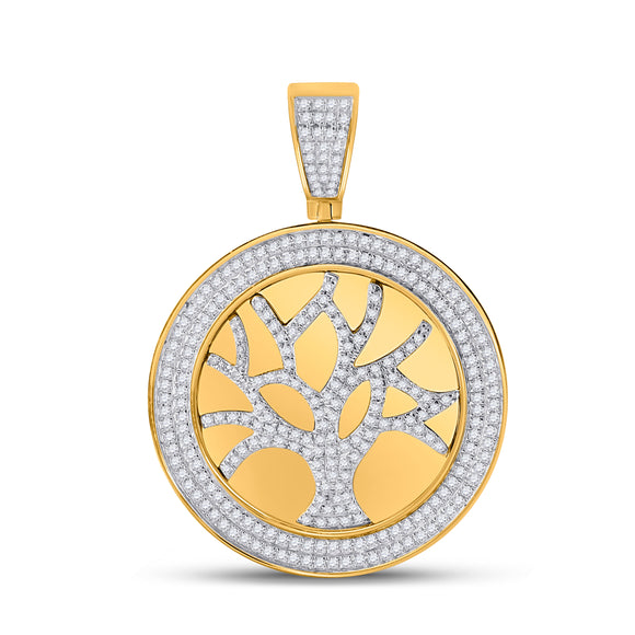 10kt Yellow Gold Mens Round Diamond Tree of Life Charm Pendant 7/8 Cttw