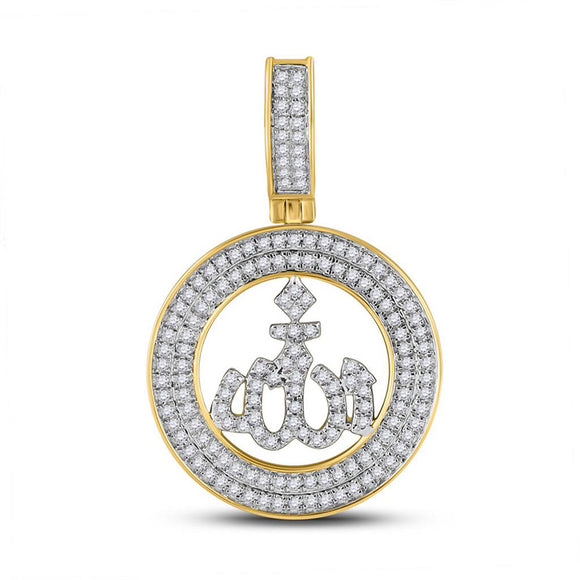 10kt Yellow Gold Mens Round Diamond Allah Islam Charm Pendant 1/2 Cttw