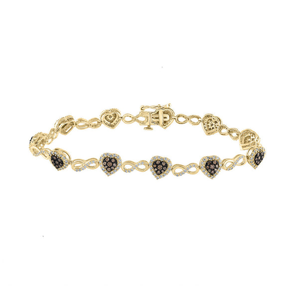 10kt Yellow Gold Womens Round Brown Diamond Heart Bracelet 1-7/8 Cttw