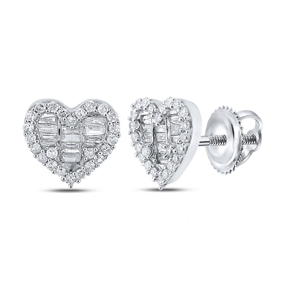 10kt White Gold Womens Baguette Diamond Heart Earrings 1/2 Cttw
