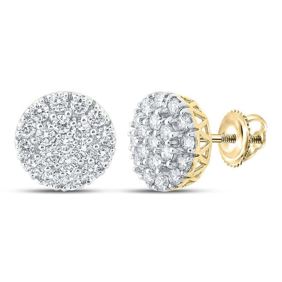 10kt Yellow Gold Mens Round Diamond Cluster Earrings 1-5/8 Cttw