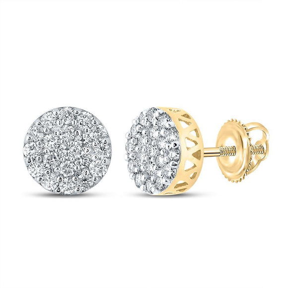 10kt Yellow Gold Mens Round Diamond Cluster Earrings 5/8 Cttw