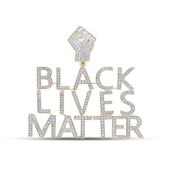10kt Yellow Gold Mens Round Diamond Black Lives Matter Charm Pendant 2-1/5 Cttw