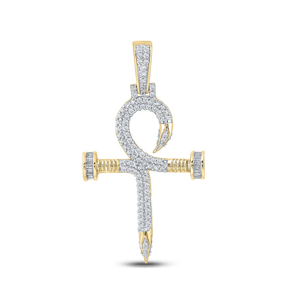 10kt Yellow Gold Mens Baguette Diamond Nail Cross Ankh Charm Pendant 7/8 Cttw