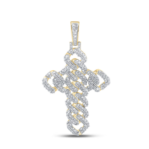10kt Yellow Gold Mens Round Diamond Cuban Link Cross Charm Pendant 1-3/4 Cttw
