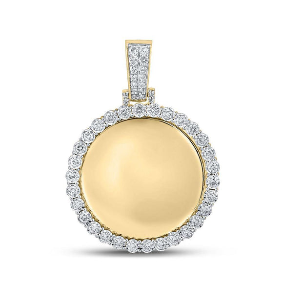 10kt Yellow Gold Mens Round Diamond Memory Circle Mirror Charm Pendant 3/4 Cttw