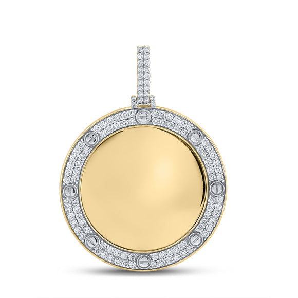 10kt Yellow Gold Mens Round Diamond Mirror Circle Charm Pendant 2 Cttw