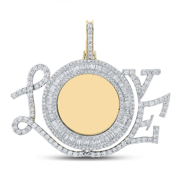 10kt Yellow Gold Mens Baguette Diamond Love Circle Mirror Charm Pendant 3 Cttw