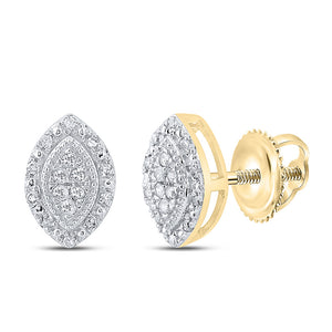 10kt Yellow Gold Womens Round Diamond Oval Cluster Earrings 1/8 Cttw