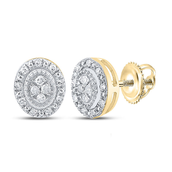 10kt Yellow Gold Womens Round Diamond Oval Cluster Earrings 1/10 Cttw