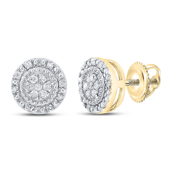10kt Yellow Gold Womens Round Diamond Cluster Earrings 1/10 Cttw