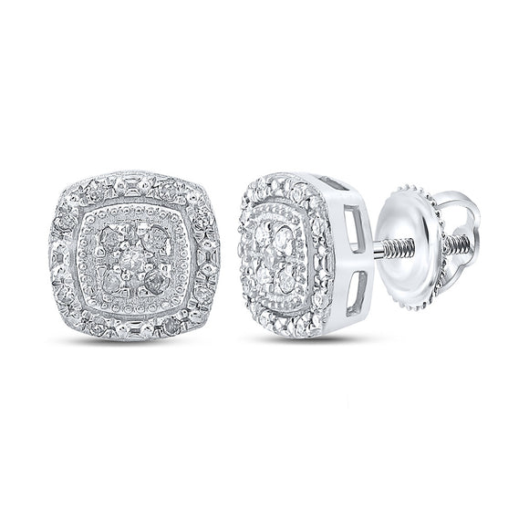 10kt White Gold Womens Round Diamond Cluster Earrings 1/10 Cttw