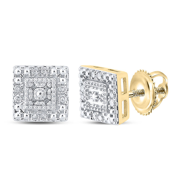 10kt Yellow Gold Womens Round Diamond Square Earrings 1/8 Cttw