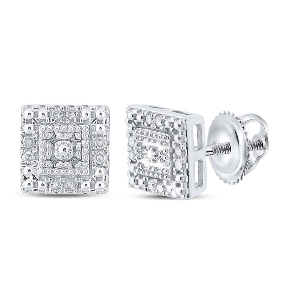10kt White Gold Womens Round Diamond Square Earrings 1/8 Cttw