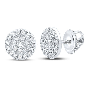 10kt White Gold Womens Round Diamond Cluster Earrings 1/4 Cttw