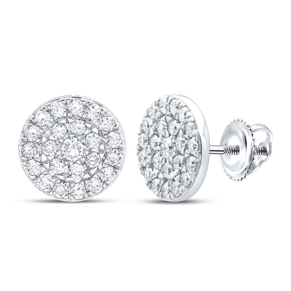10kt White Gold Womens Round Diamond Cluster Earrings 1 Cttw