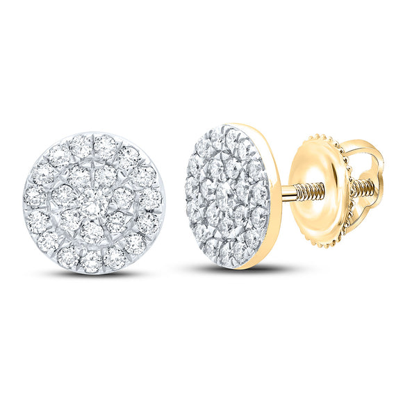 10kt Yellow Gold Womens Round Diamond Cluster Earrings 1/4 Cttw