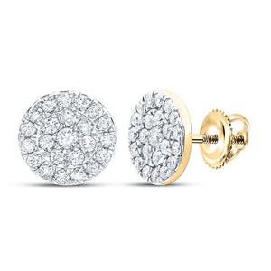 10kt Yellow Gold Womens Round Diamond Cluster Earrings 3/4 Cttw