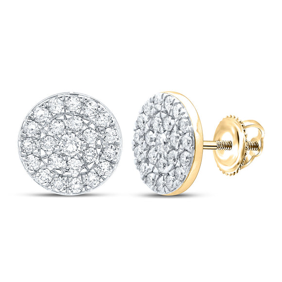 10kt Yellow Gold Womens Round Diamond Cluster Earrings 1 Cttw