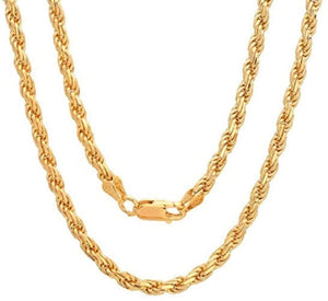 22KT Yellow Gold Solid Rope Chain Design Chain - Queens Diamond & Jewelry