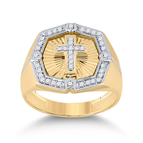 14kt Yellow Gold Mens Round Diamond Cross Ring 1/4 Cttw