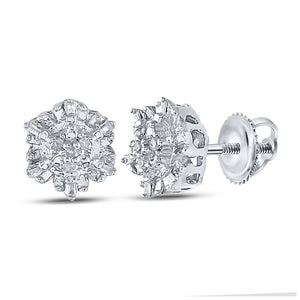 QueensDiamond Sterling Silver Womens Round Diamond Cluster Earrings 1/10 Cttw - Queens Diamond & Jewelry