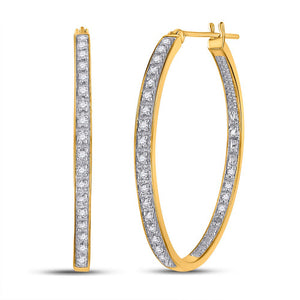 Yellow-tone Sterling Silver Womens Round Diamond Hoop Earrings 1/4 Cttw