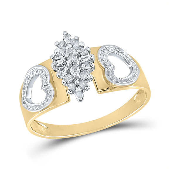 Yellow-tone Sterling Silver Womens Round Diamond Heart Cluster Ring 1/8 Cttw
